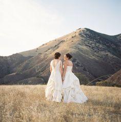 Figueroa Mountain Farmhouse wedding, in the hills above the Santa Ynez Valley, California. Lesbian Wedding Photos, Lgbt Wedding, Elope Wedding, Wedding Pictures, Lgbt Love, Lesbian Love, Lesbian Couples, Two Brides, Gay