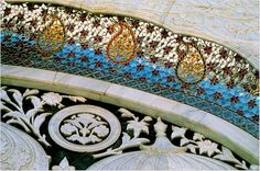 Detail of porch decoration shows exquisite finishing - The Bhong Mosque, PAKISTAN.