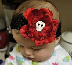 Olivia Paige Rose sugar skull baby flower infant/HEADBAND