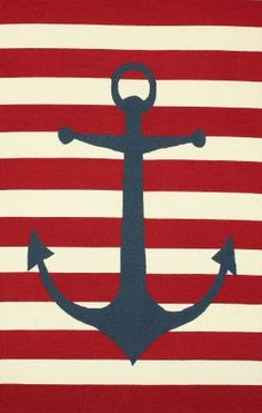 Rugs USA Homespun Anchor Striped Red Rug.  Anchor, summer time, ship, ocean, home decor, style, love, interior design, create inspire.
