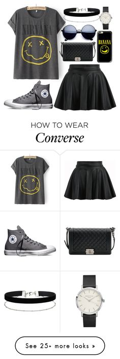 """Bez naslova #333"" by dzchocolatess on Polyvore featuring Converse, Chanel, Casetify, Miss Selfridge, bandtshirt and bandtee"