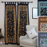 Shop for Handmade French Floral Tab Top Curtain Cotton Drape Door Panel in Ivory Blue Black Amber & Violet - 44 x Get free delivery On EVERYTHING* Overstock - Your Online Home Decor Outlet Store! Get in rewards with Club O! Tab Top Curtains, Window Drapes, Door Curtains, Led Wall Lights, String Lights Outdoor, Outdoor Lighting, Curtain Lights, Curtain Panels, Interior Trim