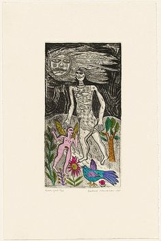 Artist: HANRAHAN, Barbara   Title: Moon girl   Date: 1990   Technique: etching, printed in black ink with plate-tone, from one plate; hand-coloured