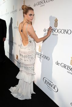 Cara Delevingne's got killer back action going on in this beaded Roberto Cavalli gown