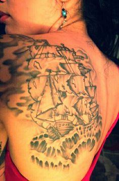 Blackbeard's pirate ship tattoo.
