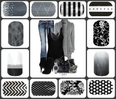 Black, whites, and greys (So many choices!) I'm in love with Jamberry nail wraps. checkout my fb Jamberry party ladies! Jamberry Party, Jamberry Nail Wraps, Jamberry Outfits, Fancy Nails, Pretty Nails, Nail Envy, Diy Manicure, Black Nails, Mani Pedi