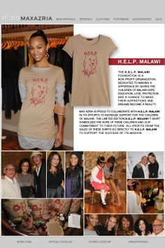 Max Azria collaborates with H.E.L.P by selling their limited edition H. E.L.P. Malawi T-shirts to increase support of children in Malawi #HELPchildren #Malawi #Africa #BCBGMaxazria #MaxAzria #ZoeSaldana #style #tshirt #awareness #WearYourSupport