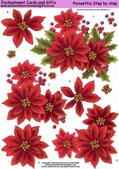 - A very large poinsettia image in a step by step sheet Christmas Leaves, Christmas Poinsettia, Christmas Bells, Christmas Colors, Christmas Snowman, Christmas Crafts, Christmas Decoupage, Christmas Cards To Make, Christmas Clipart