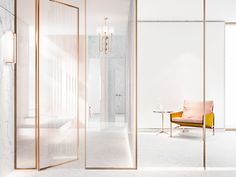 Contemporary white decoration, white and gold interior design Gold Interior, Interior Exterior, Interior Architecture, Door Design, House Design, Commercial Interiors, White Decor, Windows And Doors, Interior Inspiration