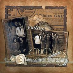 """Vintage.""  Not that heritage pictures need to be on ""heritage"" pages, but this is a great layout. Heritage Scrapbook Pages, Vintage Scrapbook, Scrapbook Page Layouts, Scrapbook Sketches, Wedding Scrapbook Layouts, Photo Layouts, Scrapbook Paper Crafts, Scrapbook Cards, Album Photo"