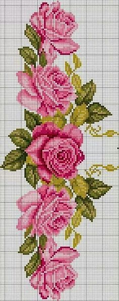 New Embroidery Rose Pattern Design Cross Stitch Ideas Cross Stitch Borders, Cross Stitch Rose, Cross Stitch Flowers, Cross Stitch Charts, Cross Stitch Designs, Cross Stitching, Cross Stitch Embroidery, Cross Stitch Patterns, Embroidery Flowers Pattern
