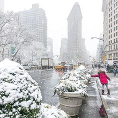 New York Vacation, New York Travel, Snow Activities, Flatiron Building, I Love Nyc, New York Christmas, My Kind Of Town, Winter Scenery, Beautiful Places To Travel