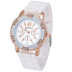 Luxusní bílé dámské hodinky GENEVA s krystaly – SLEVA 70% A POŠTOVNÉ ZDARMA  Na tento b8b13fd5b5
