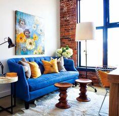sofá azul cobalto - Pesquisa Google