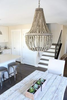 Daphne Empire Wood Beaded Chandelier - Modern Farmhouse Kitchen - Satori Design for Living