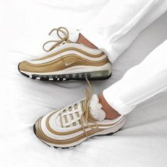 White and Gold in Nike Air Max 97 by @liliboull . . . #gomf #girlsonmyfeet