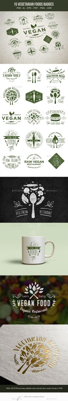 15 Vegetarian Foods Badges Vector Template #design Download…