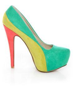Color block platform pumps in minty sea green, chartreuse & coral vegan suede