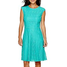 jcp | London Style Collection Cap-Sleeve Lace Fit-and-Flare Dress