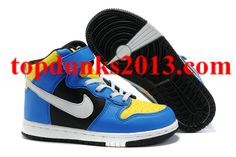 best service 19f60 014e9 Blue Yellow White Nike Dunk High Top Kids Outlet