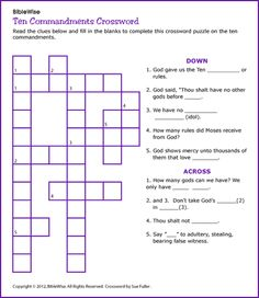 Worksheet Ten Commandments Worksheets ten commandments crossword and puzzles on pinterest kids korner biblewise