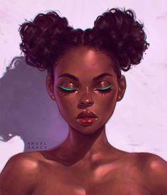 — Portrait by Angel Ganev 'Teal Eyeliner' Black Women Art! — Portrait by Angel Ganev 'Teal Eyeliner' Art Black Love, Black Girl Art, Black Girls Drawing, Drawing Women, Woman Drawing, Teal Eyeliner, Black Girl Cartoon, L'art Du Portrait, Black Art Pictures