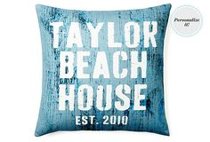 Personalized Beach 20x20 Pillow, Blue on OneKingsLane.com