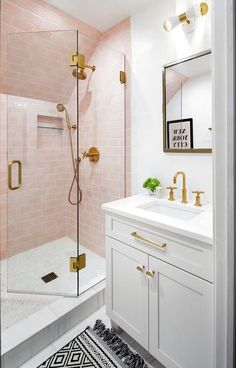 Do it yourself home projects and tutorials 2020 #home #decor #design #diy #tutorial #howto #project #farmhouse #shiplap Pastel Bathroom, Modern Bathroom, Teen Bathrooms, Pink Tile Bathrooms, Colorful Bathroom, Blush Bathroom, Small Bathrooms, Gold Bathroom Faucet, Little Girl Bathrooms