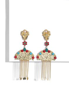 Who wouldn't want to be gifted these amazing Gold Plated Pearls, Red and Turquoise Stone Studded Mughal Earrings by Moh-Maya by Disha Khatri?  Shop for your loved ones on our Eid Gift edit now!  #eidedit #eidgiftedit #festiveoffers #earrings