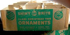 1940s - 1950s Vintage Christmas Ornaments SHINY BRITE BOX GRAPHIC