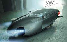 Is it a shark? A submarine? A flying car? All of the above. And it's the most badass flying car/shark/submarine I've ever seen. Kazim Doku's Shark concept is how he envisions the future of Audi's design: as a flying car. Design inspirations came from motorcycles and airplanes, and obviously underwater vessels.