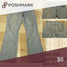 Levi's 550 Relaxed Boot Cut Jeans, Size 16 Long. Levi's 550 Relaxed Boot Cut Jeans, Size 16 Long. Levi's Jeans Boot Cut