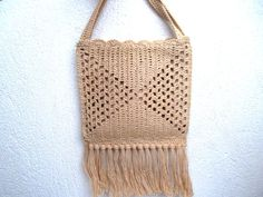 Vintage crochet purse beige knit handbag by BlastFromThePastBags, $49.00