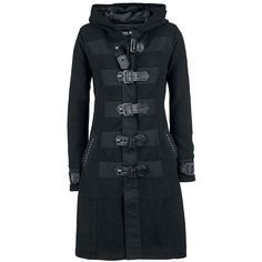 Black Buckle Detail Coat Satanic Girl by Gothicana @ EMP $???