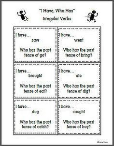 """""""I Have, Who Has"""" for irregular verbs my studnets love this game Teaching Grammar, Teaching Language Arts, Spelling And Grammar, Spelling Words, Teaching Reading, Speech And Language, Grammar Skills, Word Study, Word Work"""