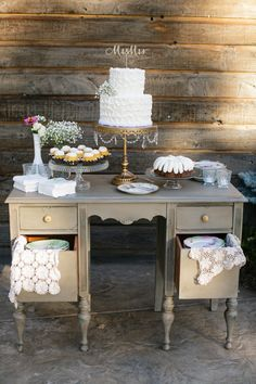 Vintage Furniture Cake Table Dessert Garden Outdoor Rustic California Destination Wedding http://www.ryangreenleaf.com/