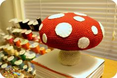 Giant Amigurumi Toadstool Pattern!  my note - I would crochet flat circles to attach for the spots instead of felt ones. I think it would be cuter