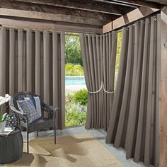 Make a stylish statement with the Sun Zero Indoor/Outdoor Woven Solid Window Curtain. The Sun Zero Indoor/Outdoor Woven Solid Window Curtain is the perfect solution for any deck, patio or indoor/outdoor space. Size: 52 x Color: Gray. Indoor Outdoor, Outdoor Curtains For Patio, Outdoor Pergola, Backyard Patio, Outdoor Living, Outdoor Decor, Pergola Ideas, Railing Ideas, Pergola Kits