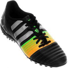 Chuteira Adidas Nitrocharge 4.0 TF Society Masculina Preta   Laranja   Verde 33f875df26135