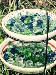Sea Glass Water Dish for bees. #savethebees