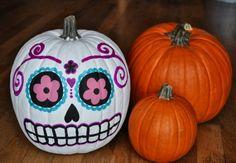 7. #Pumpkins - 7 DIY Sugar Skull #Crafts You Can do for Halloween ... → DIY [ more at http://diy.allwomenstalk.com ]  #Halloween #Tutorial #Skulls #Skull #Designs