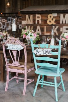 pink and blue mr and mrs wedding chairs