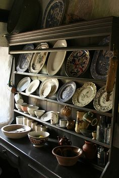 Inside the Irish cottage of US President Ulysses S. Grant's parents. Hutch with plates and cups.