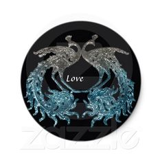 Glitter Sliver and Blue Peacock Round Sticker from Zazzle.com