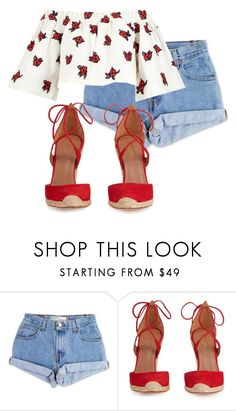 """Untitled #932"" by antonela-475 ❤ liked on Polyvore featuring Levi's, Aquazzura and House of Holland"