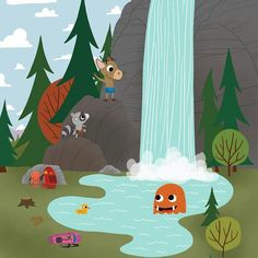 Scouts - Taking a Dip - Whimsical Storybook Artwork of a small troop of Animal Scouts exploring the great out doors - Chopping Wood  #kidsroomart #kidsart #kidsroom #whimsicalart #adventure #kidsroomwallart #wallart #animals #storybook #kidsbookart #childrensbookart