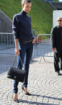 Navy Turtleneck Sweater and Chanel bag