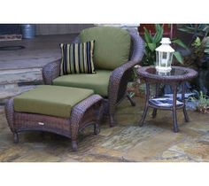 Kick your legs up and enjoy the outdoors with the comfort of indoor furniture. This Lexington chair is whicker and made to withstand the elements for your comfort. Get more ideas like this from urbanoutdoorliving.com.