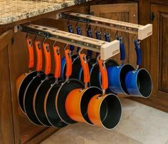New Kitchen Organization Ideas Pots And Pans Home Ideas Kitchen Cabinet Organization, Home Organization, Kitchen Cabinets, Cabinet Ideas, Kitchen Organizers, Kitchen Pans, Kitchen Flooring, Kitchen Soffit, Kitchen Countertops
