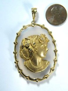 TERRIFIC VINTAGE 9K GOLD DIAMOND CHALCEDONY AGATE MAIDEN CAMEO PENDANT c1970's in Cameos | Buy Online at CJ Antiques